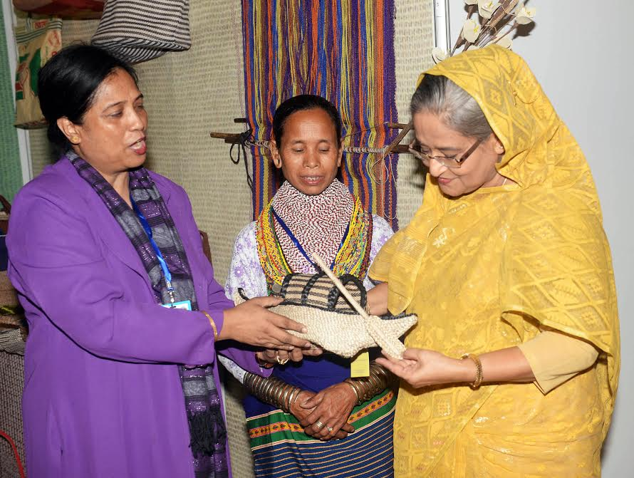 Prime Minister Sheikh Hasina is Overseeing Jute Made Boat.